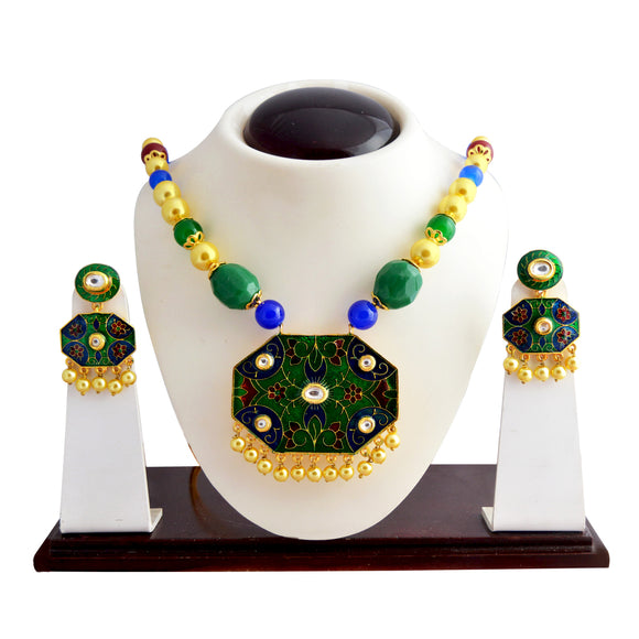 Classic Green Blue Kundan Meena Necklace Set With Earrings For Woman