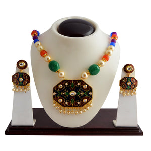 Classic Dark Blue Red Kundan Meena Necklace Set With Earrings For Woman