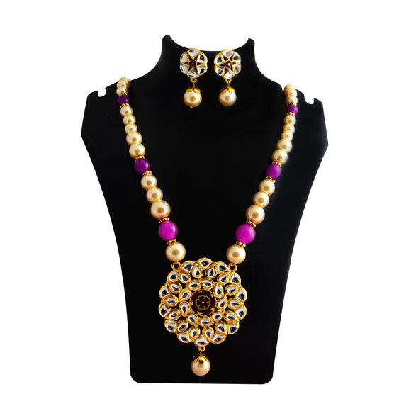 Kundan Leaves Pendant Meenakari Necklace Purple