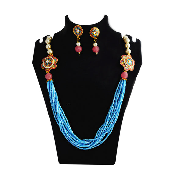 Mala Necklace Set Side Pendant for Girls Women Pink Blue