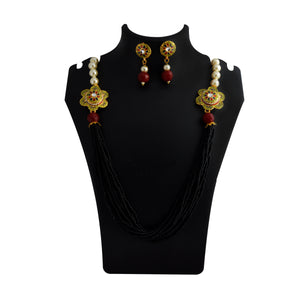 Mala Necklace Set Side Pendant for Girls Women Mehandi Black