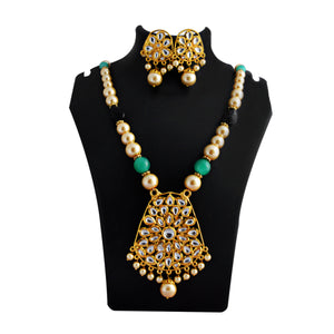 Kundan Drops Pendant Meenakari Necklace Set Rama Green