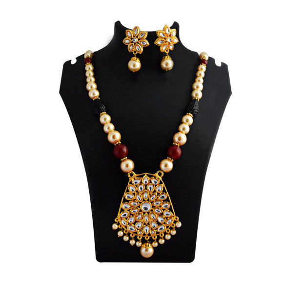 Kundan Drops Pendant Meenakari Necklace Set Maroon