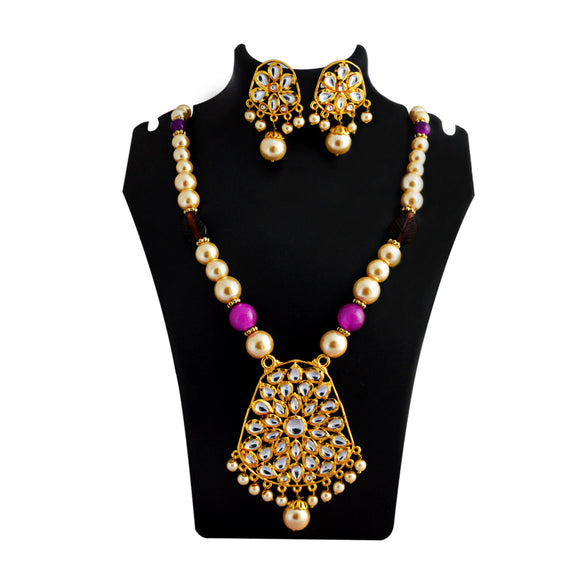 Kundan Drops Pendant Meenakari Necklace Set Pink Purple