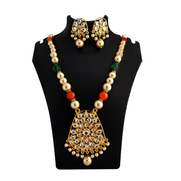 Kundan Drops Pendant Meenakari Necklace Set Orange