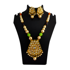 Kundan Drops Pendant Meenakari Necklace Set Green Orange