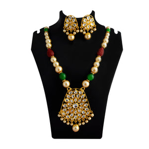 Kundan Drops Pendant Meenakari Necklace Set Green Red