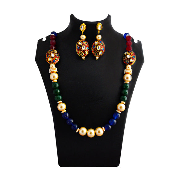 Traditional Mala Necklace Set Bead Design Maroon Blue