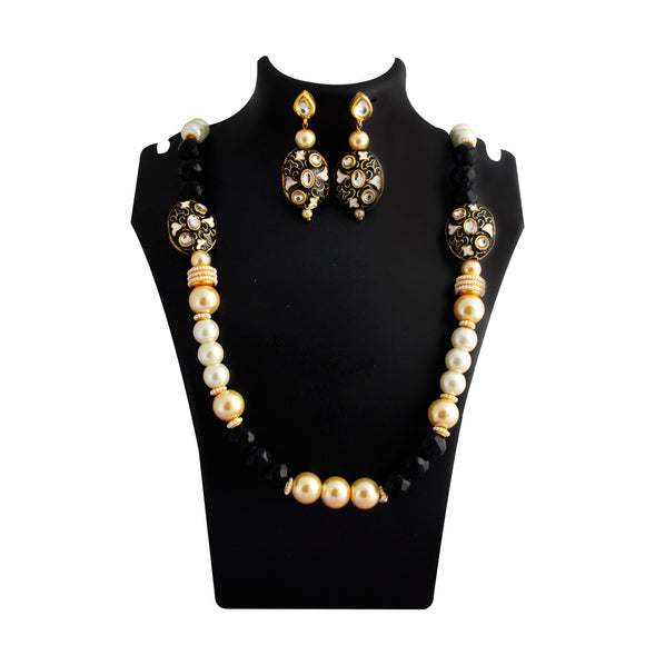 Traditional Mala Necklace Set Bead Design Black