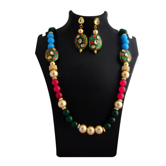 Traditional Mala Necklace Set Bead Design Blue Pink