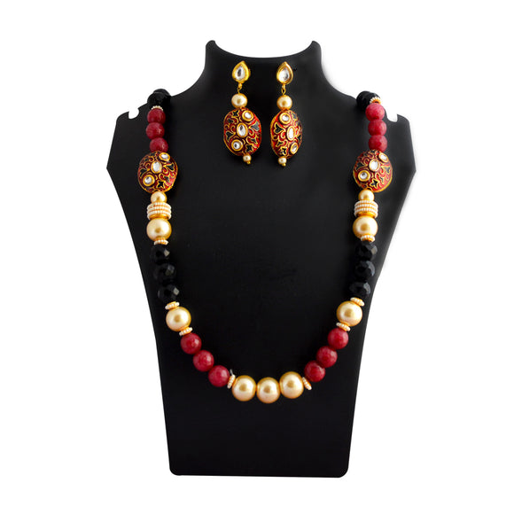 Traditional Mala Necklace Set Bead Design Maroon Black