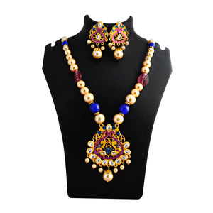 Traditional Kundan Meenakari Pendent Necklace Set With Earrings For Woman