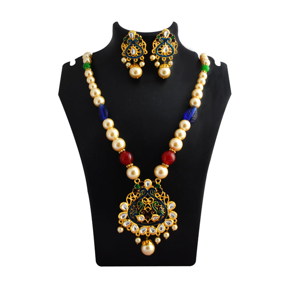 Classic Kundan Meenakari Pendent Necklace Set With Earrings For Women