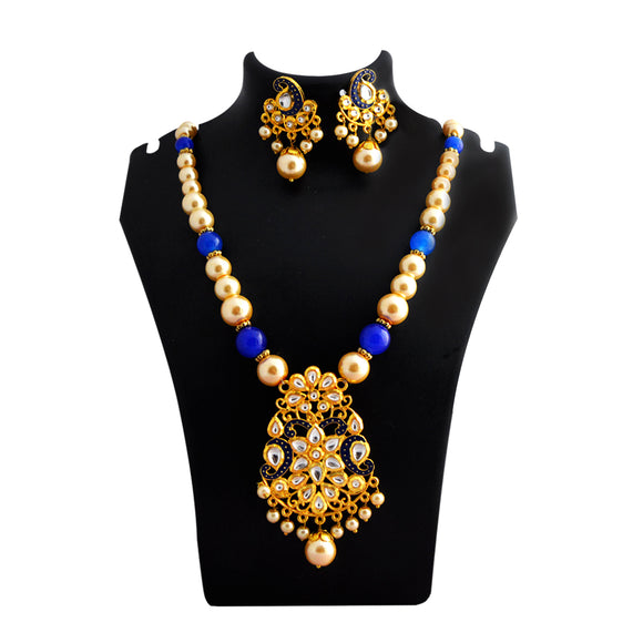 Kundan Floral Pendant Meenakari Necklace Set Blue