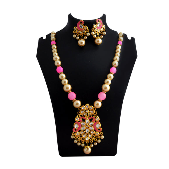 Traditional Design Kundan Meenakari Pendent Necklace Set With Earrings For Women