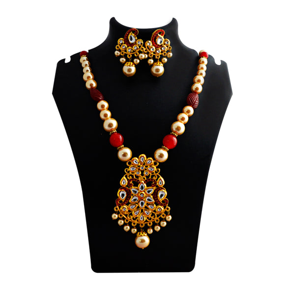 Kundan Floral Pendant Meenakari Necklace Cherry Red