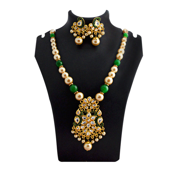Kundan Floral Pendant Meenakari Necklace Green