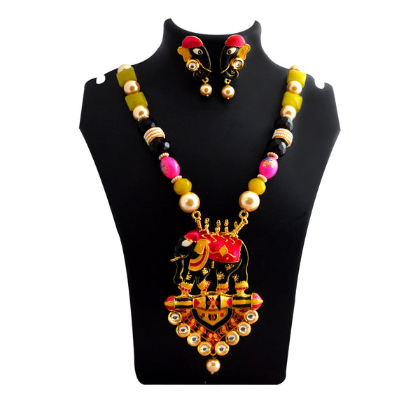 Traditional Ganesh Pendant Meenakari Necklace Black Pink