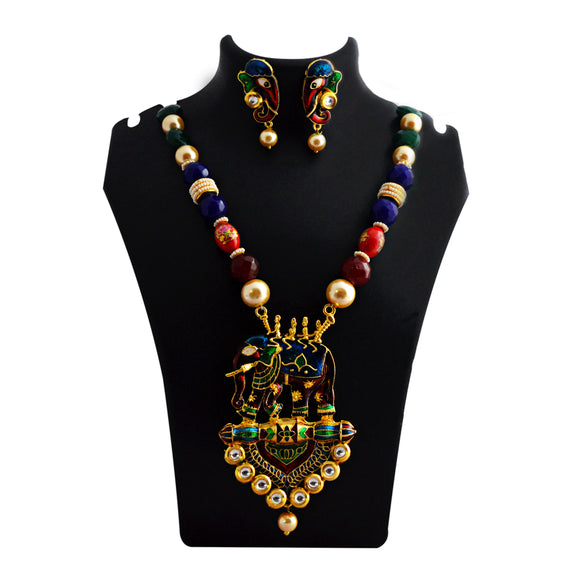 Traditional Ganesh Pendant Meenakari Necklace Blue Green