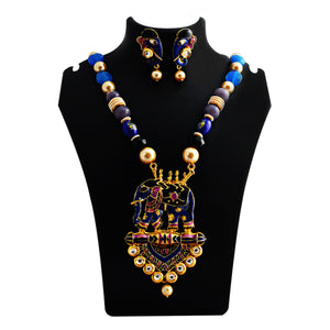 Traditional Ganesh Pendant Meenakari Necklace Royal Blue