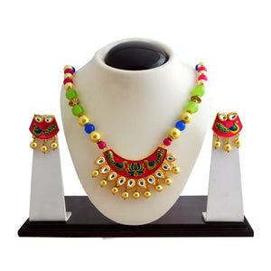 Ethnic Kundan Meenakari Necklace Set Crescent Moon Design Pink