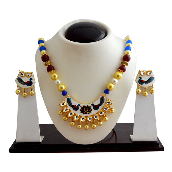 Ethnic Kundan Meenakari Necklace Set Crescent Moon Design White