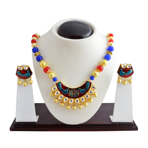 Ethnic Kundan Meenakari Necklace Set Crescent Moon Design Red Blue