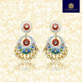Handpainted Lotus Design Chandbali Pearl Earrings White