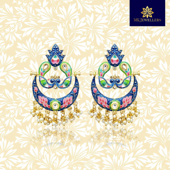 Handpainted Peacock Design Chandbali Pearl Earrings Blue