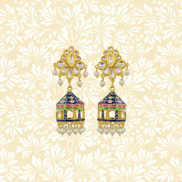Handpainted Kundan Temple Jhumki Pearl Earrings Blue