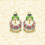 Handpainted Peacock Top Chandbali Earrings Flower Design White