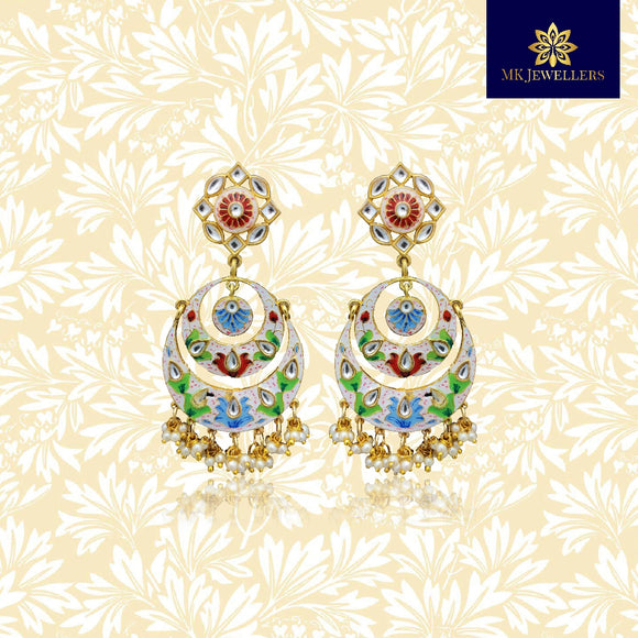 Handpainted Kundan Top Double Layer Chandbali Earrings White