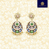 Handpainted Kundan Top Double Layer Chandbali Earrings Maroon