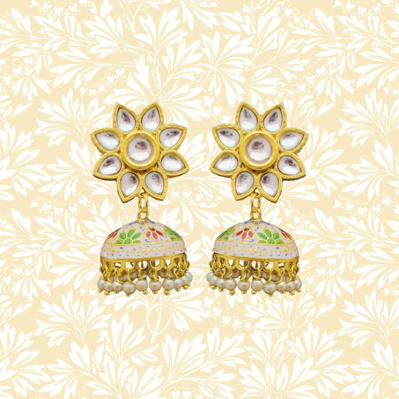 Handpainted Kundan Top Jhumki Earrings Flower Design White