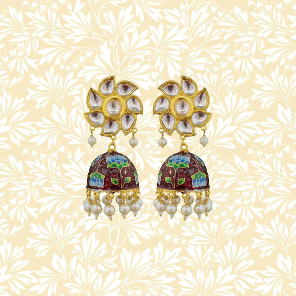 Handpainted Kundan Top Lotus Jhumki Pearl Earrings Maroon