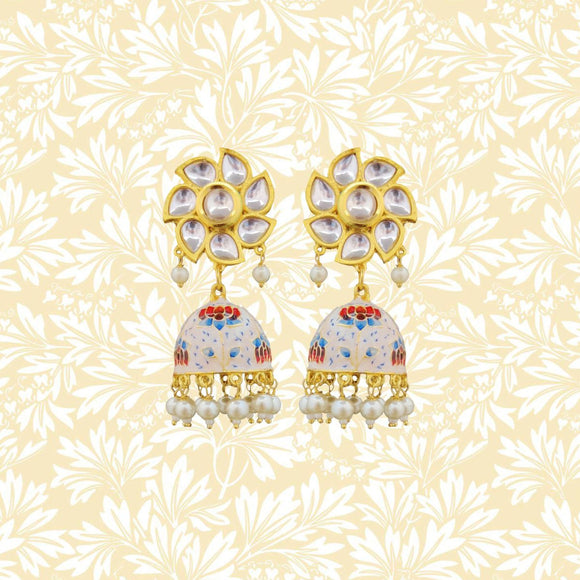 Handpainted Kundan Top Lotus Jhumki Pearl Earrings White