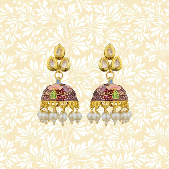 Handpainted Kundan Top Jhumki Pearl Earrings Leaf Design Maroon
