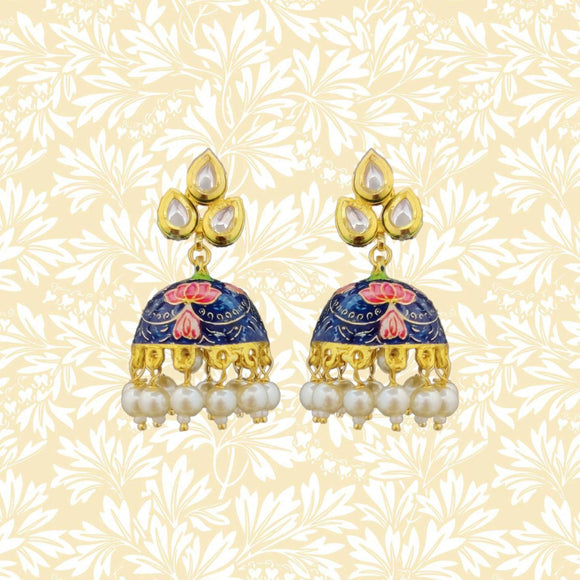 Handpainted Kundan Top Jhumki Pearl Earrings Leaf Design Blue