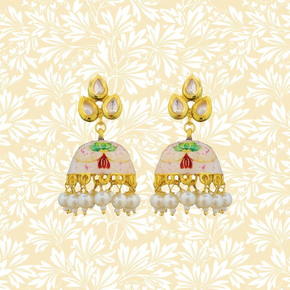 Handpainted Kundan Top Jhumki Pearl Earrings Leaf Design White