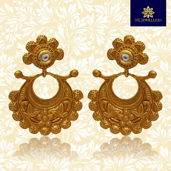 Ethnic Matte Gold Kundan Chandbali Dangler Earrings Flower Shape
