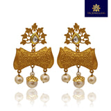 Traditional Matte Gold Tops Earrings for Women