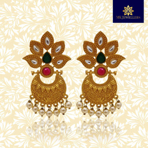 Matte Gold Chandbali Pearl Earrings for Girls Leaf Design