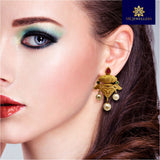 Stylish Matte Gold Stud Earrings for Women Red Color