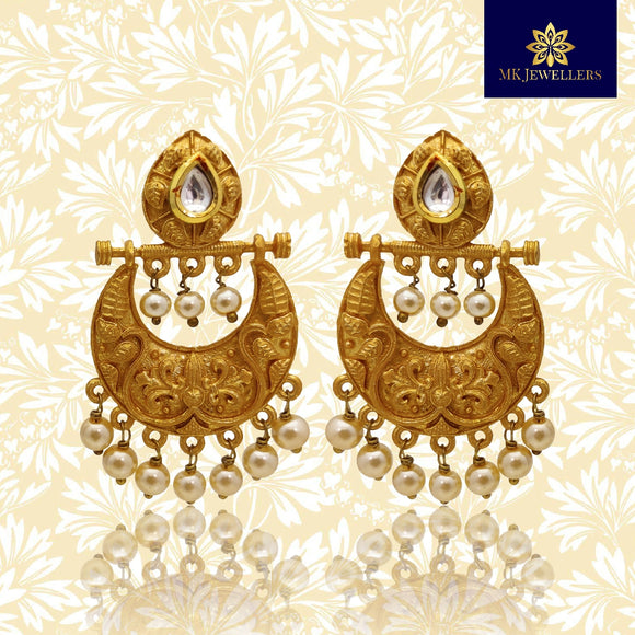 Ethnic Matte Gold Chandbali Earrings for Girls Women