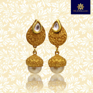 Matte Gold Mango Tops Design Mini Jhumki Earrings for Girls