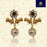 Matte Gold Kundan Flower Peacock Stud Earrings Green Color
