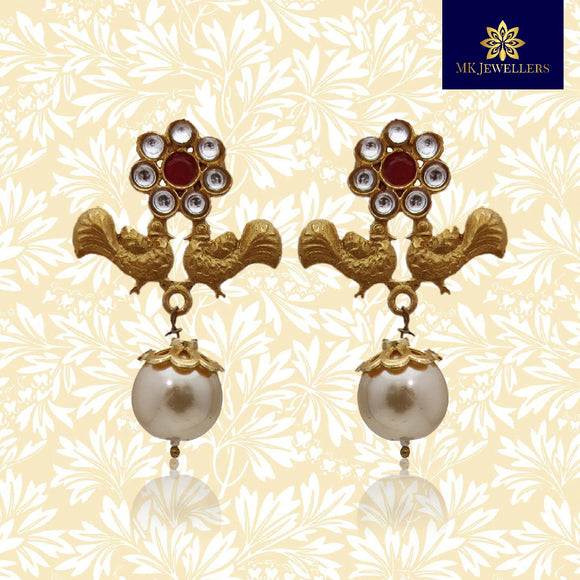 Matte Gold Kundan Flower Peacock Stud Earrings Red Color