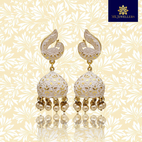 Matte Meenakari Jhumki Peacock Design Earrings White