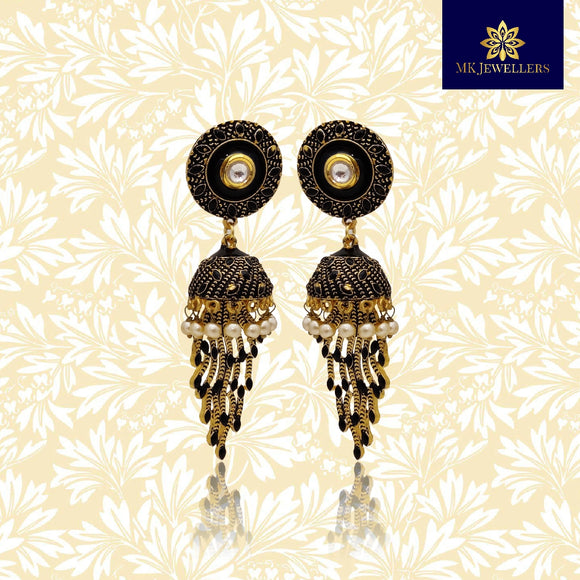 Matte Meenakari Long Jhumka Earrings for Women Black