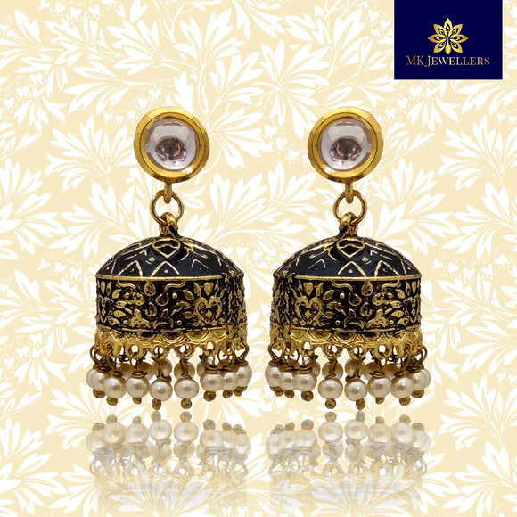 Traditional Matte Meena Jhumki Dome Earrings Black Color
